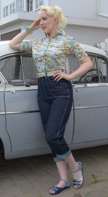 1950s jeans pedal pushers rockabilly vintage VLV retro - Freddies of Pinewood