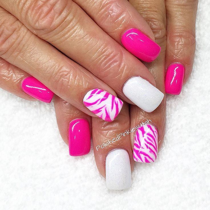 Polished Pinkies Utah: neon pink zebra nails! Need some sassy nails for summer!?! These are it! Gel polish, shellac, gel nails, animal print nail art, zebra print nail art, summer nail design, square nails, fun nail art.