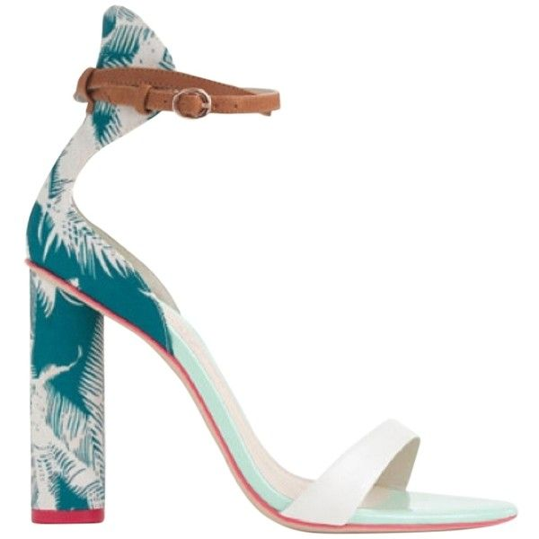 Pre-owned Sophia Webster Nicole Multi Sandals ($350) ❤ liked on Polyvore featuring shoes, sandals, heels, tacones, multi, pre owned shoes, green heel shoes, print shoes, white block heel sandals and green shoes