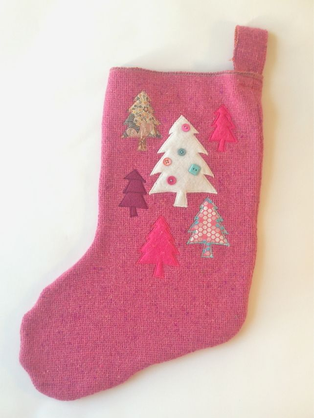 Large christmas stocking pink with tree designs love the trees