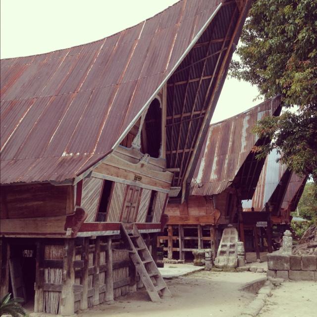 Traditional batak house on samosir, north sumatra, indonesia