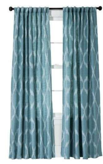 Threshold aqua blue jacquard ikat window curtain panel new 54x95