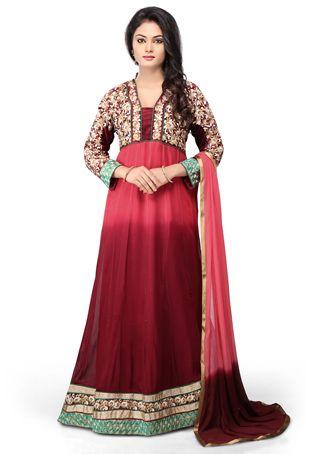 Buy Shaded Maroon Faux Georgette Abaya Style Readymade Churidar Kameez online, work: Embroidered, color: Maroon / Red, usage: Party, category: Salwar Kameez, fabric: Georgette, price: $140.42, item code: KUF6057, gender: women, brand: Utsav