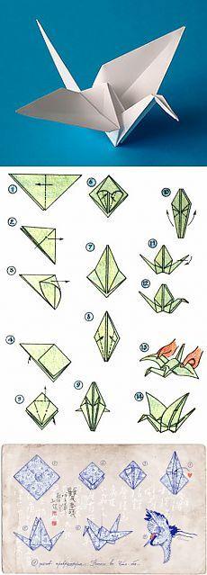 Схема оригами: Журавлик из бумаги. Классическая схема.