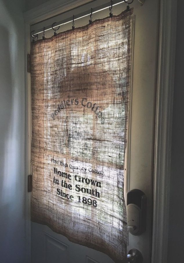 A woman ran an iron over a burlap sack & her door looks amazing now