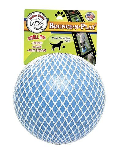 Jolly Pet Bounce-N-Play Ball Blue 6 inch | Berry Scented Rubber Dog Toy