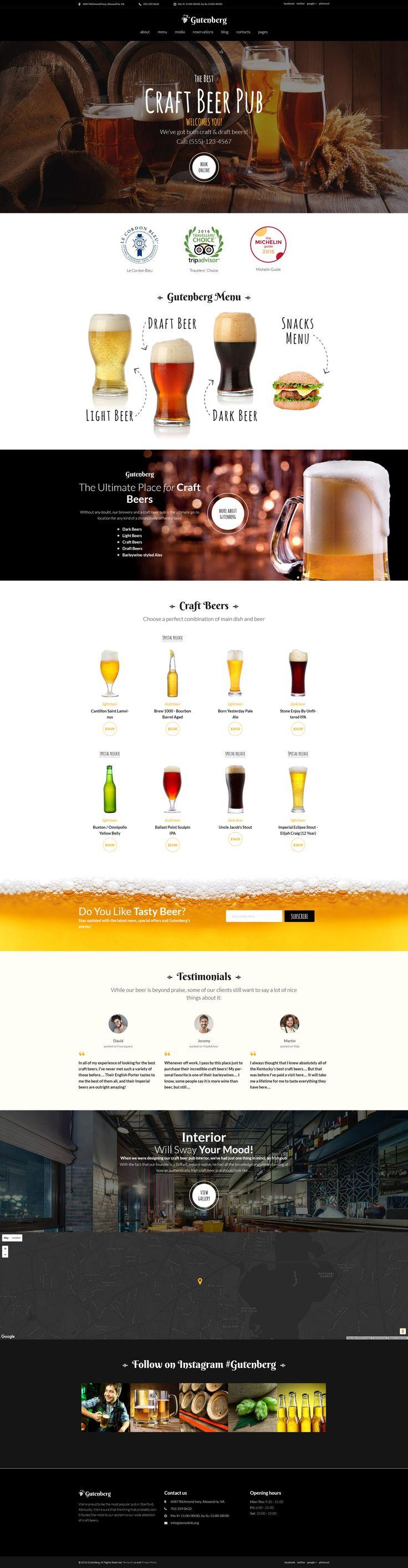 GutenBerg is a fully editable responsive WordPress theme intended for bringing beer restaurants and taverns on the web.   #wordpress #webdesign #beer #pub #restaurant  https://www.templatemonster.com/wordpress-themes/gutenberg-beer-pub-and-brewery-wordpress-theme-59005.html