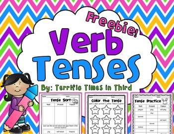 This freebie is a fantastic way to have your students practice with past, present, and future verb tenses. Your students can practice verb tenses by cutting, coloring, and writing with these fun printables!This PDF File Includes:* Cut and sort by tense* Color the verb tense* Fill in the missing verb tense* Answer keys for each worksheet*****************************************************************************You may also like:Language Arts Reference ChartsSyllable Patterns V/CV, VC/V…
