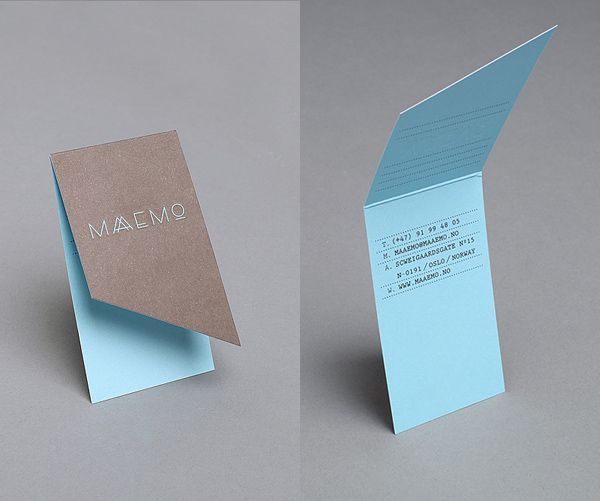 Maaemos unique restaurant business card_This unique, folding business card was designed by Work in Progress for the Norwegian restaurant, Maaemo. I love the blue and brown colors. They compliment each other very well. See the photos below for the rest of their brand identity.