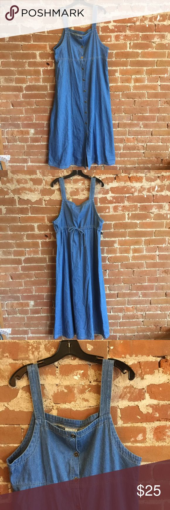 Cute denim long jumper. Maxi dress or long vest Vintage denim maxi. Completely unbuttoned's would be fun long vest. Drawstring ties in the back. In great condition Vintage Dresses Maxi