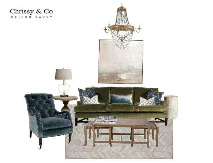 Client Conceptual: Design By Chrissy & Co Design Savvy. Abstract painting, chandelier, tufted accent chair, area rug.
