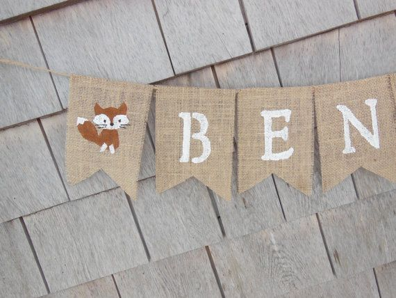 Custom Personalized Name Banner Woodland by IchabodsImagination