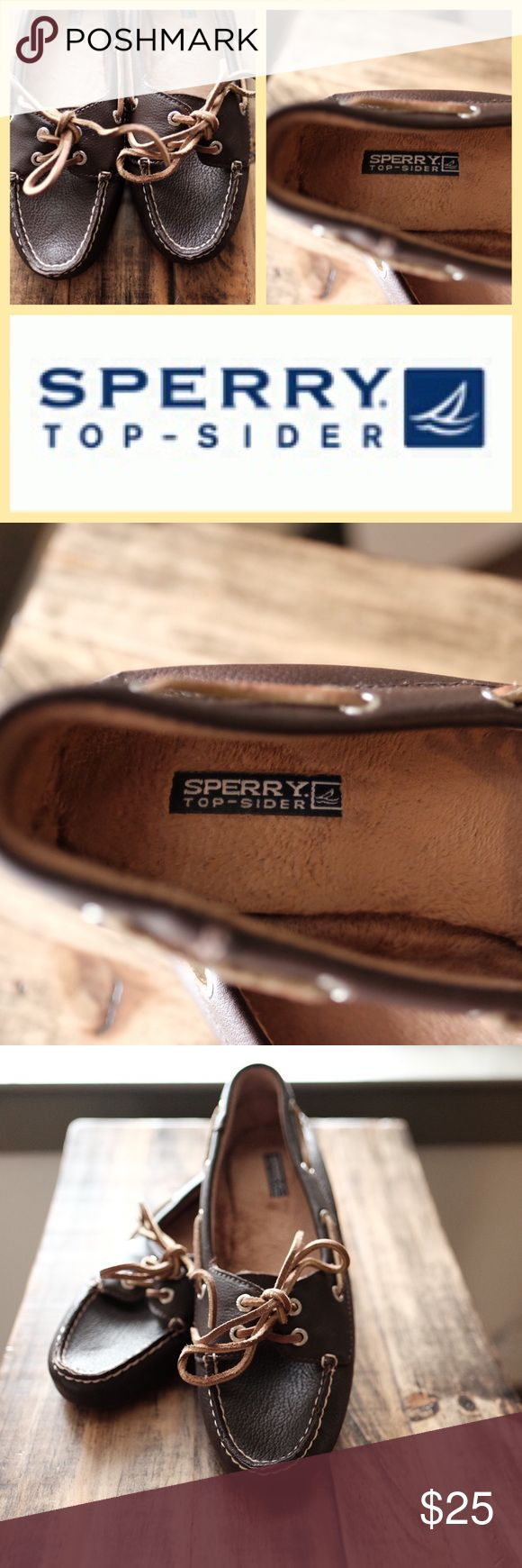 Sperry Top-Sider Brown Skiff Moccasin This pair of Sperry Skiff Moccasins are in great condition and have only been worn a few times. A great casual shoes for running errands as they are quick to slip on and off. Color is dark brown and the material is suede with a rubber bottom. Women's size 8M. There is a very small scuff mark on the left heel (see picture). Hardly noticeable but wanted to make note. Comes from a pet free and smoke free home. Happy poshing! Sperry Top-Sider Shoes Moccasins