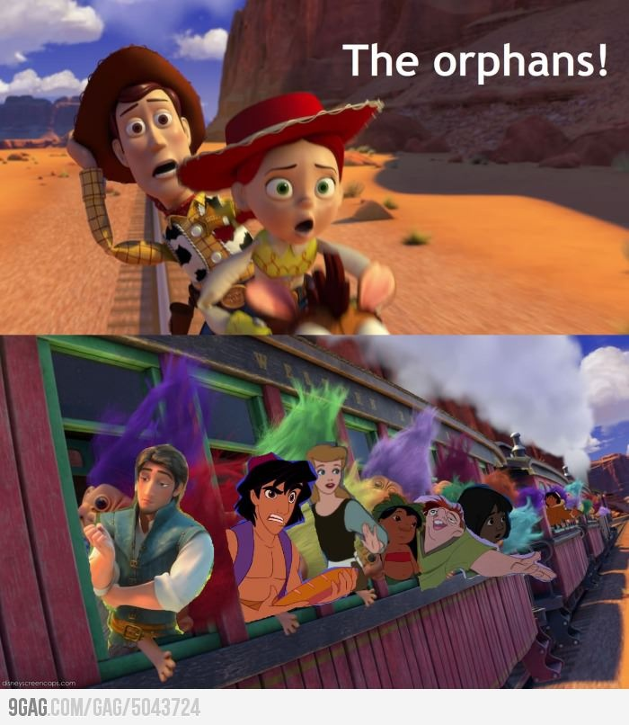 OH NO! The orphans!: Laughing, Toys Stories 3, Prince Philip, Disney Orphan, Disney Pixar, Funny, Flynn Rider, Disney Character, Disney Movie