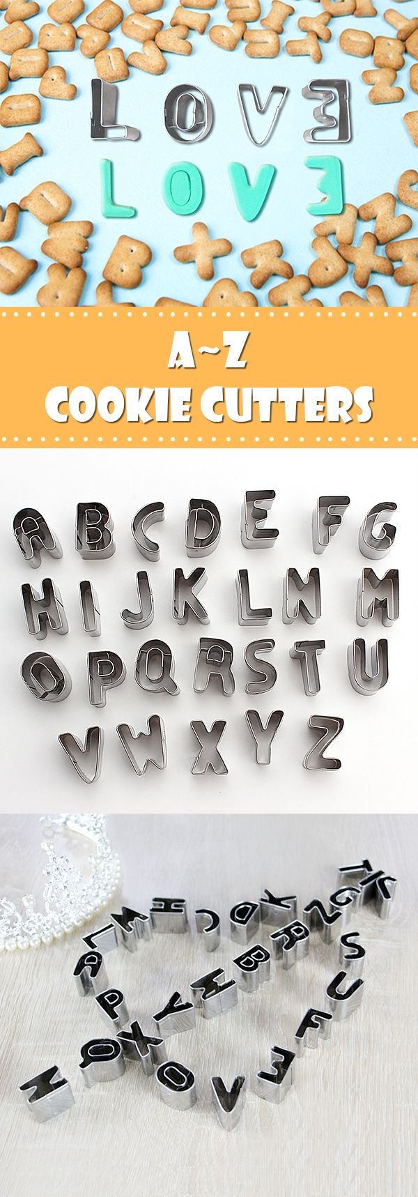 Alphabet Cookie Cutters: Say what's in your heart and make cookies with them!