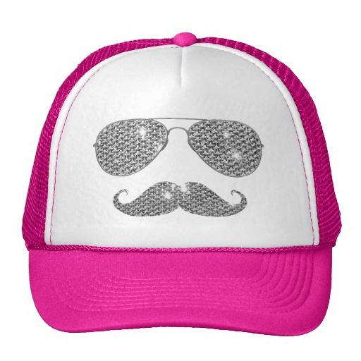 Funny Diamond Mustache With Glasses Mesh Hat