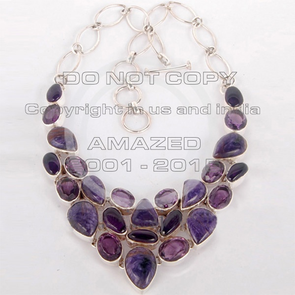 Magnificent heavy weight (50-90 gms approx ) cluster necklaces studded with Amethyst cut, Amethyst cab, Cherolite silver jewelry.