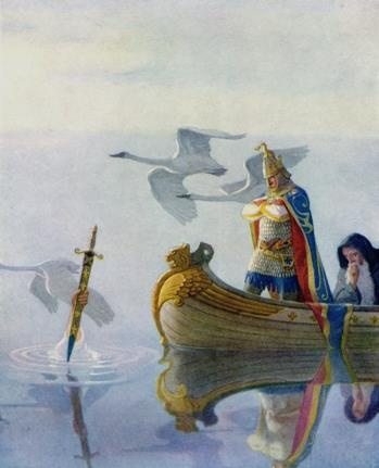 """""""And when they came to the sword that the hand held, King Arthur took it up"""" by N C Wyeth (1882-1945) - from his suite of designs for """"The Boy's King Arthur"""" (1917)."""