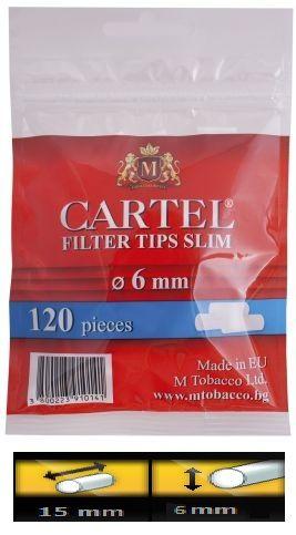 Filtre Cartel Slim pentru rulat tutun     Pretul este pentru 1 punga cu 120 Filtre Cartel Slim     Ambalaj:  120 filtre/punga  Lungime:  15 mm  Diametru: 6 mm  Comenzi la tel: 0744545936 sau pe www.tuburipentrutigari.ro