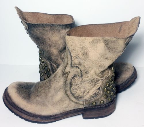 FREEBIRD-Haven-By-Steven-Drover-Brown-Leather-Motorcycle-Boots-Women-039-s-Size-8-5