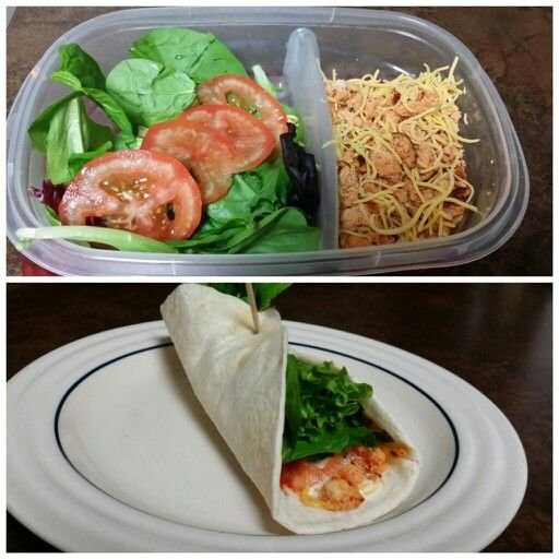 Prepackaged meal by Kelli Bill Spicy buffalo tofu wrap Cook firm tofu with Sriracha, roasted garlic powder, and a sprinkle of ranch dressing powder packet. Pack a 6 inch tortilla with low fat cheddar cheese, fresh spring mix, and tomato slice. Great, healthy, easy prepackaged lunch  You could substitute tofu for buffalo chicken also
