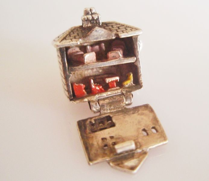 Vintage Silver Enamel Dolls House & Furniture Charm Opens RARE - sold for 79gbp
