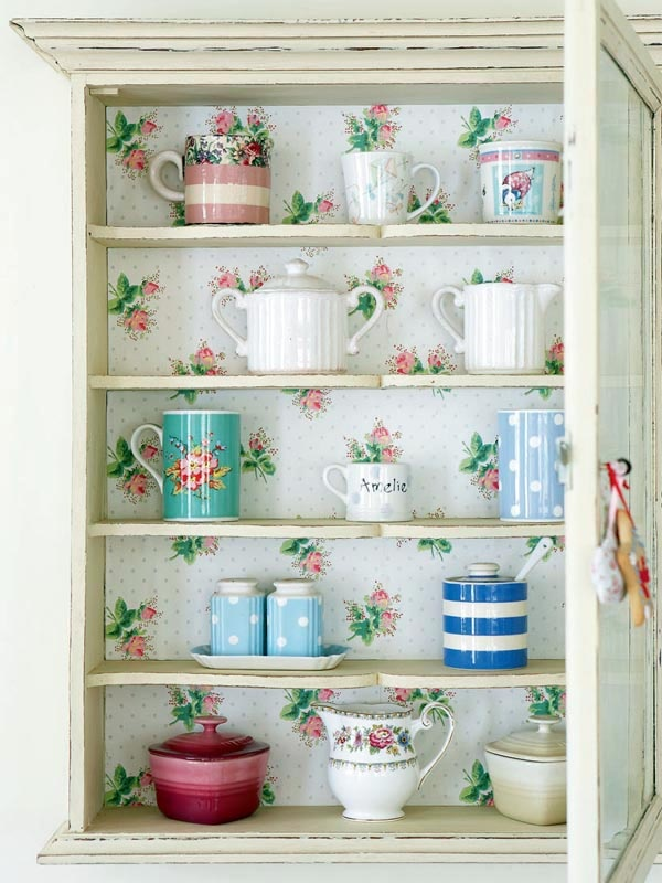 country cupboard with wallpaper backing