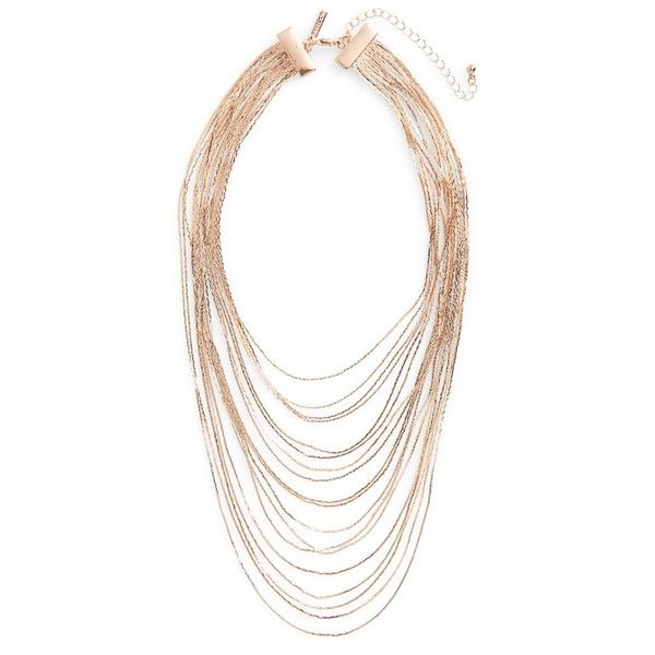 Topshop Multistrand Chain Necklace ($22) ❤ liked on Polyvore featuring jewelry, necklaces, rose gold, chain necklaces, multiple strand necklace, layered necklace, waterfall necklace and multi layer necklace