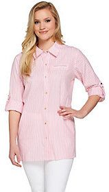 Joan Rivers Classics Collection Joan Rivers Skinny Stripe Boyfriend Shirt with Gold Buttons