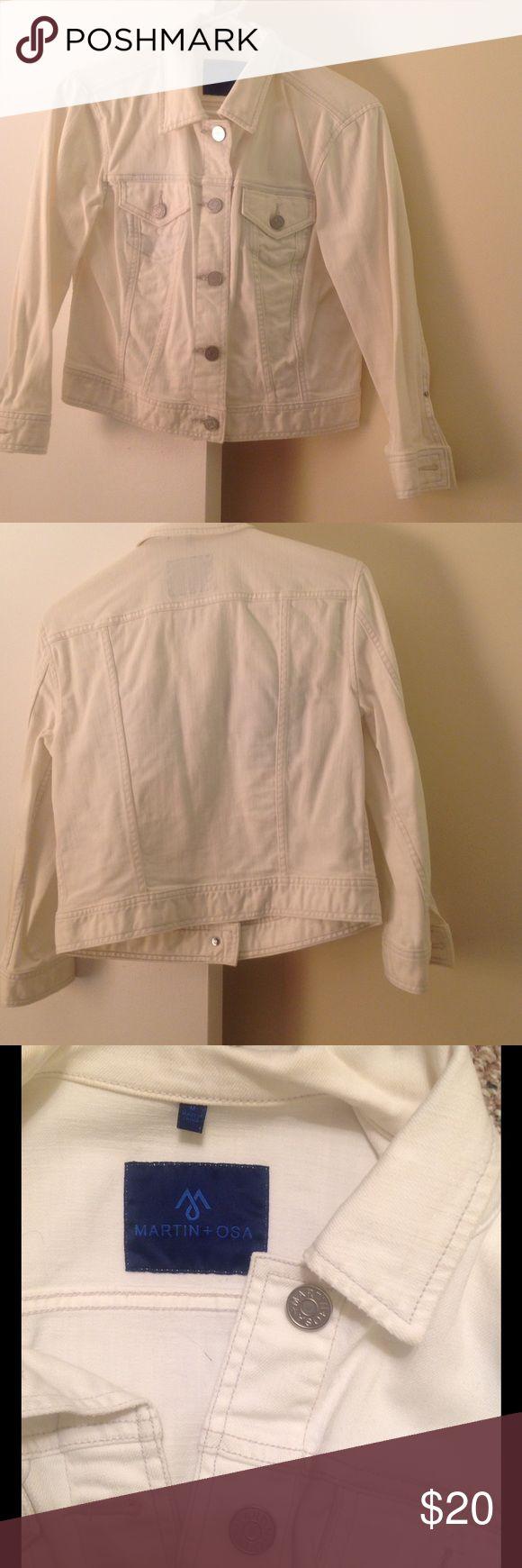 White Jean Jacket - worn twice White Jean Jacket for a chilly summer night! Martin + Osa Jackets & Coats Jean Jackets