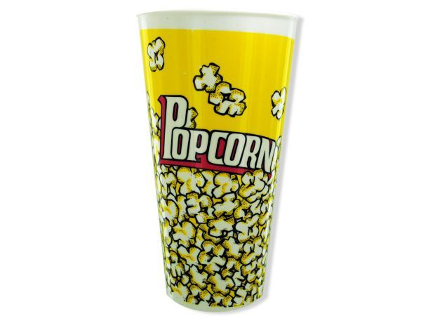 """Popcorn Container, 36 - Great for creating an at-home movie night, this fun container holds a single serving of popcorn. Ideal for a family night where everyone can have their own popcorn served just they way they like it! Creative people might want to use this as a gift basket for the movie lover in your life! Measures approximately 7"""" x 4.5"""". Each container is packaged loose with a UPC sticker located on the bottom.-Colors: black,white,yellow. Material: plastic. Weight: 0.1604/unit"""