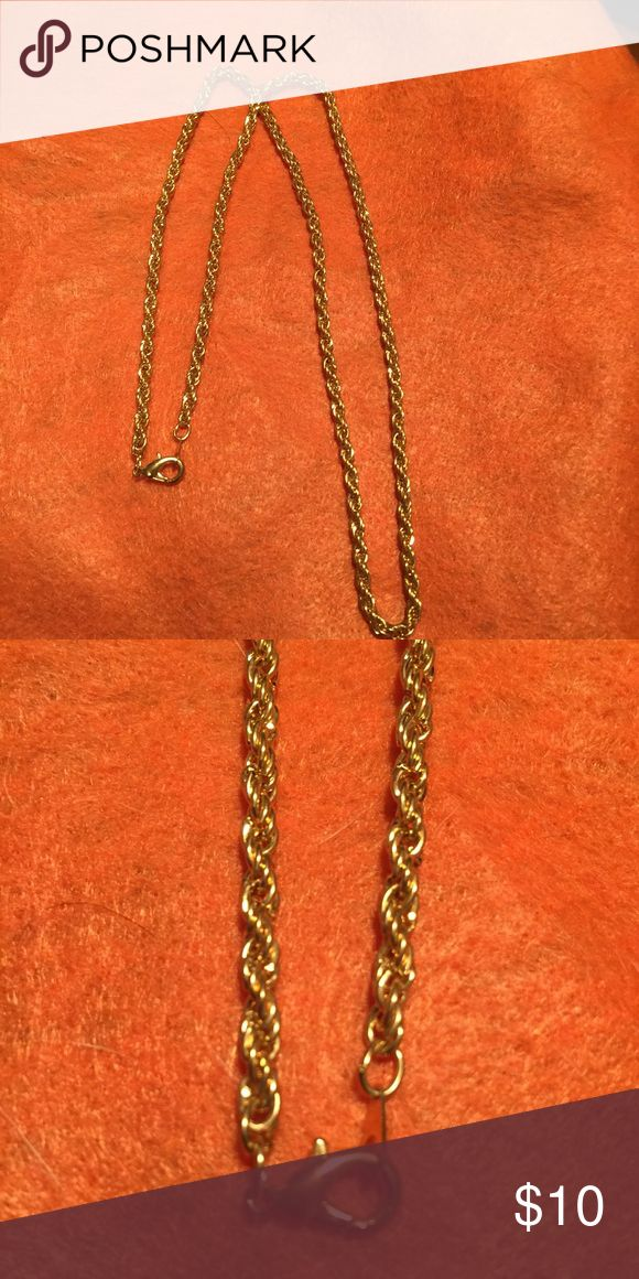 """Gold rope chain 24 """" it is I believe vintage and most likely electroplating , leaves no stains and looks great Jewelry Necklaces"""