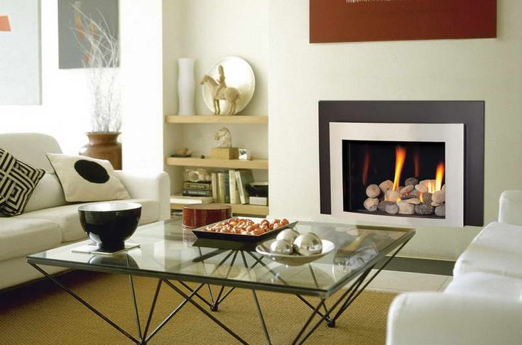 Contemporary Gas Fireplace Design With Glass Desk