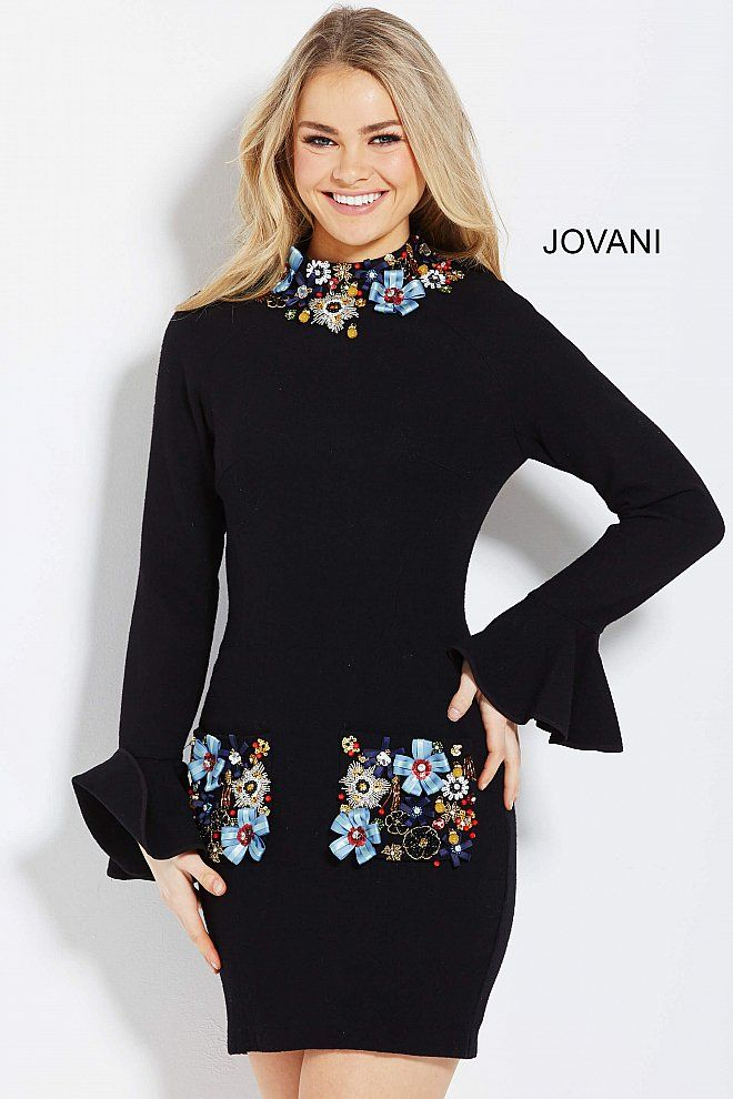 Short form fitting black ready to wear dress with multi color beaded collar and pockets features long bell sleeve bodice with exposed back zipper.