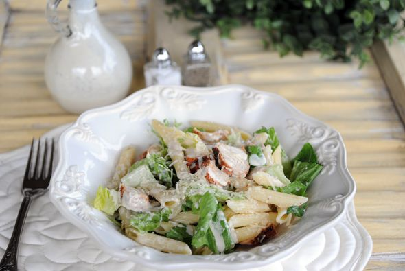 Chicken Caesar Pasta Salad  -like at Cheddar's!    I took a shortcut that certainly added fat & calories to the recipe (used Brianna's Caesar dressing), but it was tasty. I can easily make this for lunch myself.  ~M