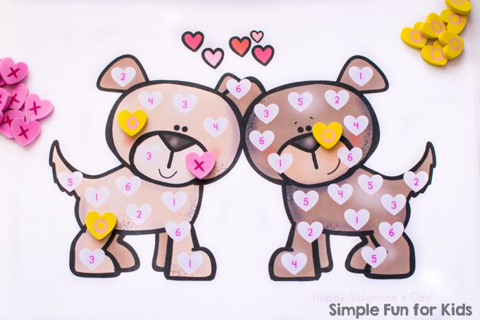 Quick and simple math games for kids: Try this cute Valentine's Puppies Roll and Cover Game with your preschooler or kindergartner! Simply print the pdf file, grab a die and a few manipulatives, and play!