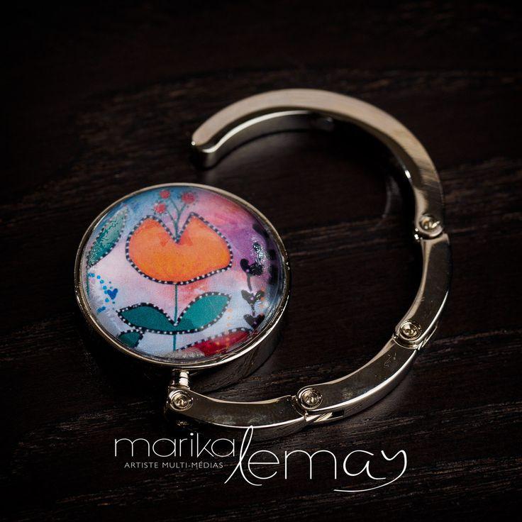 Crochet pour sac à main fleur orange, accroche-sac à main par Marika Lemay artiste mixed media de la boutique MarikaLemayArtiste sur Etsy