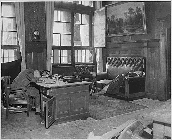 Burgomeister of Leipzig a suicide in his office together with wife and daughter as 69th Infantry Division and 9th Armored Division closed on city. Germany, April 20, 1945.