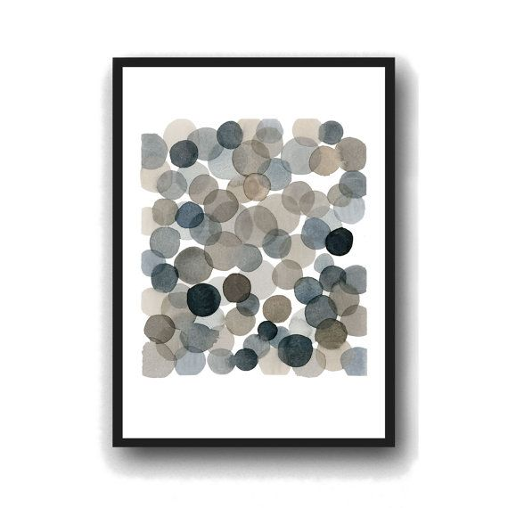 Watercolor Black bubbles  Abstract watercolor by LouiseArtStudio