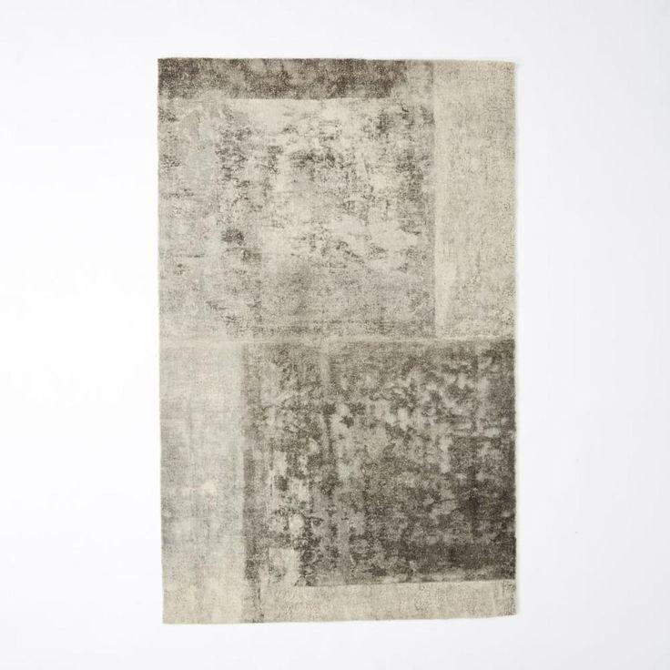 Distressed Rococo Wool Rug - Platinum