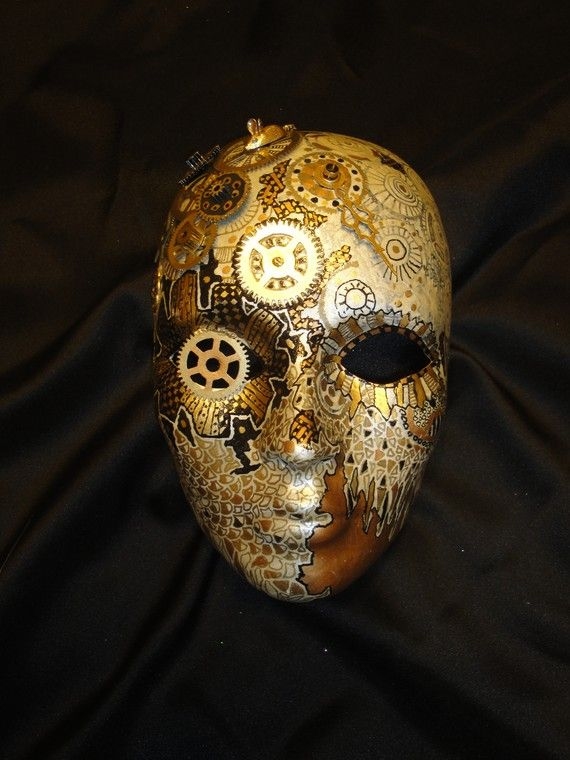 Clockwork Steampunk OOAK Painted Mask by mistypinktiger on Etsy. Very interesting idea that is itching to be made in 3D.