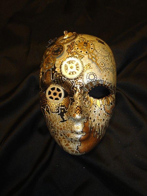 Clockwork Steampunk OOAK Painted Mask by mistypinktiger on Etsy.