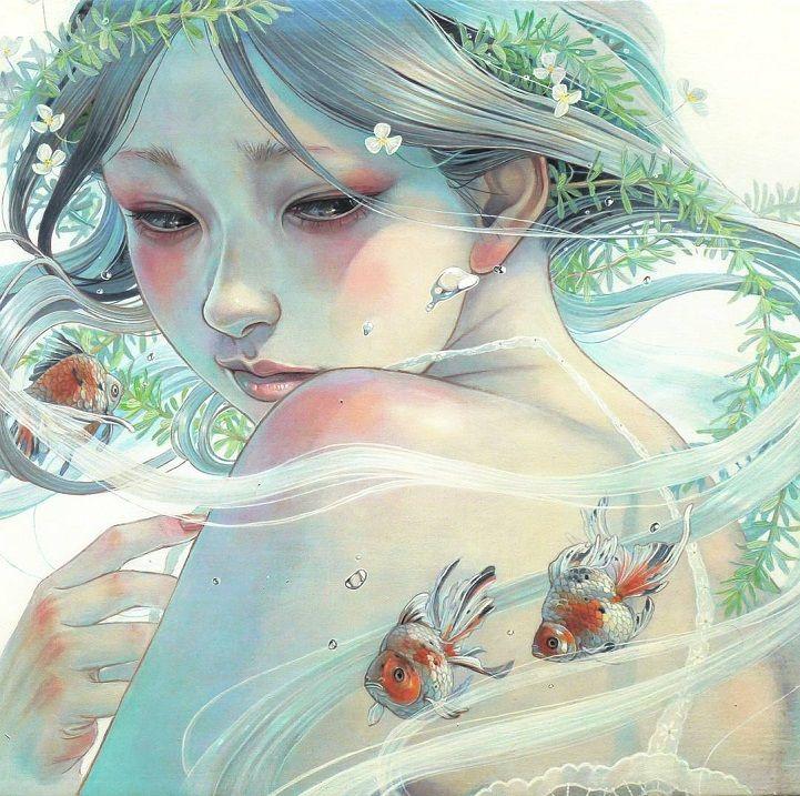 Delicadeza japonesa em contos de fadas visuais à tinta a óleo