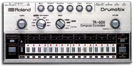 Roland TR-606 Drumatix. My first drum machine! I was actually kinda disappointed when I first heard it, because I was expecting the cool Roland CR-70 sounds (think Genesis' Duke album)...