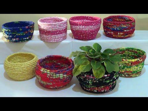 ▶ DIY - Cestas de corda e tecido / Baskets of rope and fabric / Cestas de cuerda y la tela - YouTube