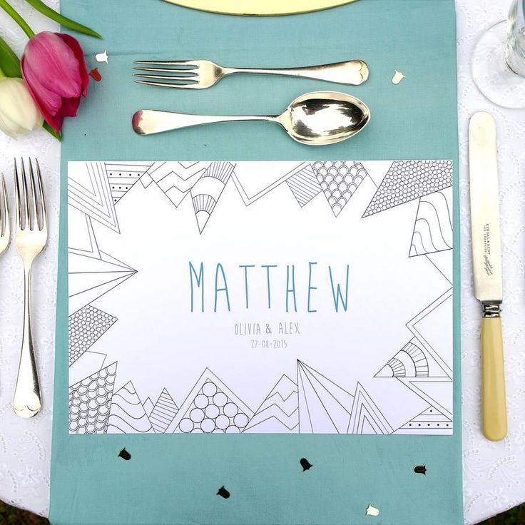 Personalised place mats to be coloured in