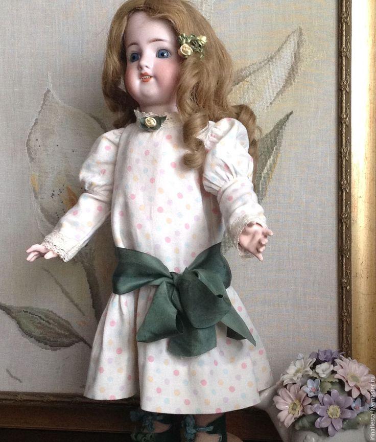Купить Наряд для антикварной куклы, реплики - хаки, антикварная кукла, одежда для кукол, пальто для куклы