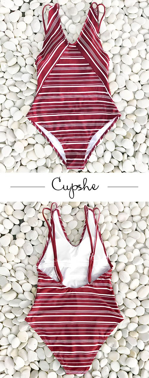 New Arrivals! Cupshe Facing Sun Stripe One-piece Swimsuit features red & white stripe prints and hot open-back design. Now Cupshe storewide sale is going! Shop more hot bikinis and new-arrivals at one time to get larger discount! Free shipping & Check it out!