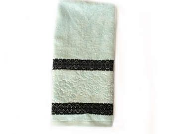 Mint Decorative Towel, Kitchen towel with Black Lace,  Apartment Gift for Her, Green towel,  House warming Gift, Spa Gift Basket towel by blingscarves. Explore more products on http://blingscarves.etsy.com