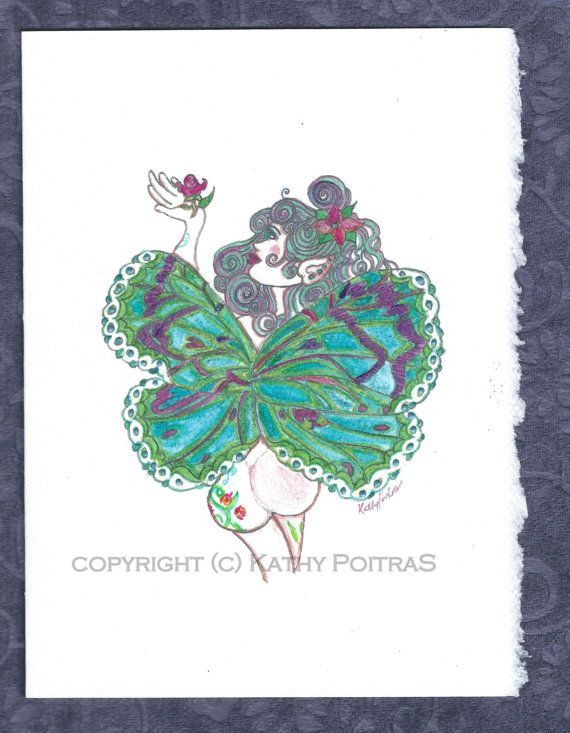 Blue Fairy hand painted greeting card on by KathyPoitrasArt